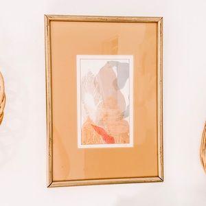 VTG Signed Original Gold Frame Pastel Fabric Art